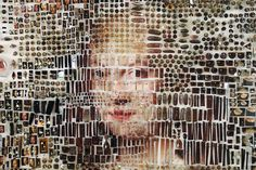 deconstructing photos of actual paintings by such masters as rembrandt and nicolaes eliasz pickenoy, mapes recreates the original picture piece by piece, using countless collage materials and even biological findings like eyelashes and hair.