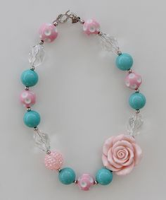 Loving this Pink & Blue Rose Necklace on #zulily! #zulilyfinds