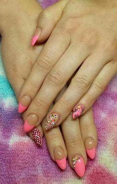 Nails Natural Almond Nails, Bling Nails, Nail Designs, Mermaid, Neon, Beauty, Nail Desings, Neon Colors, Beauty Illustration