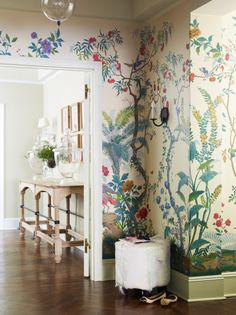 Amazing tropical forest wall paper in a gorgeous home | Interior styling by Suzanne McGrath Design