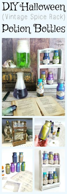 How to upcycle and repurpose a vintage spice rack into DIY magic potion bottles for fun Halloween decor by Sadie Seasongoods / www.sadieseasongoods.com