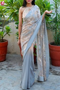 Buy Gray Double Shaded Korean Net Saree by Colorauction - Online shopping for Saree in India Saree Gown, Net Saree, Chiffon Saree, Georgette Sarees, Silk Chiffon, Lehenga, Silk Sarees, Online Shopping Sarees, Modern Saree