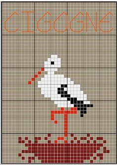 Cigogne aux point de croix