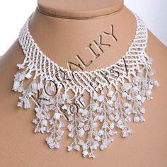 Modern Handmade Jewelry Beaded Necklace Waterfall Gerdan White /Silver With Moonstones.