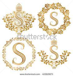 Golden S Letter Vintage Monograms Set Stock Vector (Royalty Free) 422820073 Baroque Decor, Name Card Design, Name Wallpaper, Fancy Letters, Luxury Logo, Typographic Logo, Vintage Monogram, Calligraphy Art, Free Vector Art