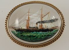 Gold Victorian Essex Crystal steam yacht brooch signed by   Benzie of Cowes, C.1880