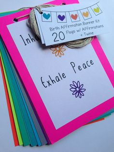 Love these Birth Affirmation Bunting Kit Rainbow 20 pcs w/ by kittynoodlesoup - you can customise your own or buy them pre-written with gorgeous affirmations.