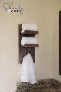 DIY Bathroom Towel Hook  {Shanty2Chic}