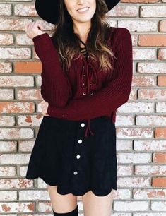 Lace Up Short Knitted Sweater  Stylish outfit ideas for women who love fashion!
