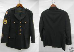Mens 44 R Army Green Military Jacket VTG US Official Dress Uniform Coat De Rossi