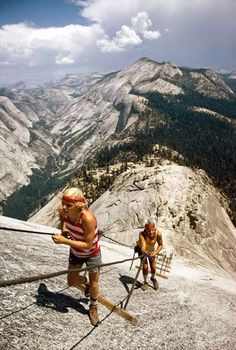 """""""Test for brawn and breath, Half Dome's back-side trail evokes the vim of youth and the caution of increasing years."""" — Originally published in """"The Other Yosemite"""" in National Geographic magazine, June 1974 Adventure Awaits, Adventure Travel, National Geographic, Places To Travel, Places To See, Photo Vintage, Parkour, Yosemite National Park, Rock Climbing"""