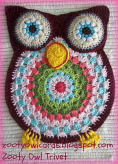 For all my fellow wild and crazy mandala lovers, here's the perfect project for you! Zelna Oliver has designed this fabulous mandala owl which you can use for a trivet, place mat, wall hanging; do I need to go on? No, no, I do not. You know that you have to make this so drop everything