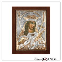 Exact copy of byzantine silver icon depicting Santa Katerina. Handmade Silver, Saints, Greek, Sterling Silver, Artwork, Gold, Santos, Art Work, Work Of Art