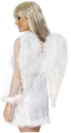 Ali in piume e boa bianche con elastico per sorreggerle. Cm.31,5x31 cm. Accessorio vestito Angelo. Disponibili da C&C Creations Store