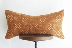 Mudcloth Lumbar Pillow Cover Burnt Orange by ONEAFFIRMATION