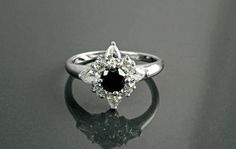 Black Diamond Marquise Star Ring Halo Ring Lab Diamonds by KRAMIKE
