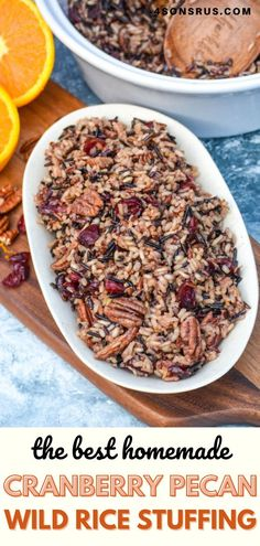 Sunday Recipes, New Recipes, Favorite Recipes, Rice Stuffing, November Thanksgiving, Bread Alternatives, Wild Rice, Pecan, Family Meals