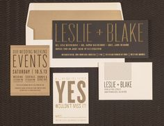 Spark Letterpress black and gold wedding invitation suite {WHAT I LIKE: modern feel and unique shapes}