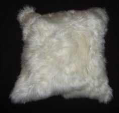 White pillow cover, made of alpaca fur, 12x12 Inches