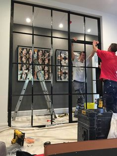 Installation of Crittall steel internal screen in Manchester.- Installation of Crittall steel internal screen in Manchester. Installation of Crittall steel internal screen in Manchester. Glass Partition Wall, Glass Room Divider, Room Divider Doors, Room Doors, Room Dividers, Room Door Design, House Design, Crittal Doors, Crittall Windows