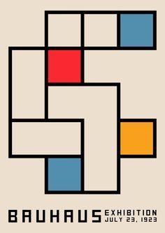 Bauhaus Exhibition Poster 1923 – Vintage Poster, Geometric Print, Mid Century Decor, Home Decor. Poster Design, Graphic Design Posters, Graphic Design Inspiration, Poster Layout, Art Bauhaus, Bauhaus Design, Bauhaus Colors, Artwork Prints, Poster Prints