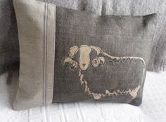 hand printed and stitched charcoal curly horn by helkatdesign, $66.00