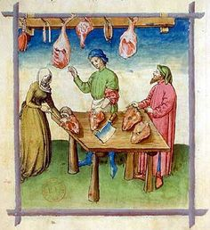 A Feast For The Eyes  13. A meat merchant; Tacuinum Sanitatis, 15th c., Paris.