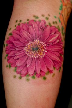 Gerber Daisy Tattoo on my foot - he loves me, he loves me not, he loves me  !