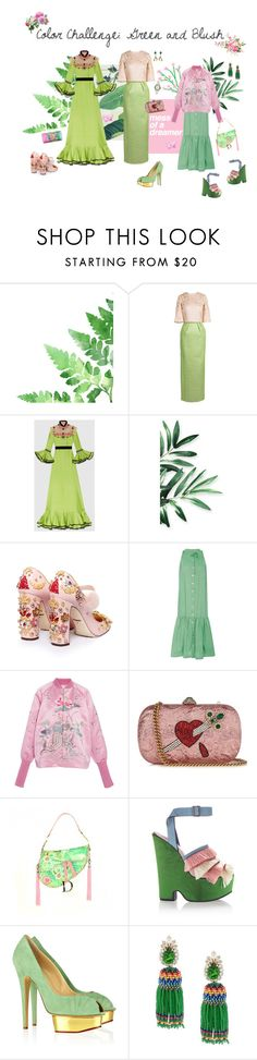 """""""Mess of a Dreamer - Green & Blush"""" by jckyleeah ❤ liked on Polyvore featuring Rami Al Ali, Gucci, Dolce&Gabbana, Christine Alcalay, Ms Min, Christian Dior, Marco de Vincenzo, Charlotte Olympia, Chanel and Shourouk"""