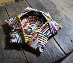 intreccio di filo di carta  woven paper star basket