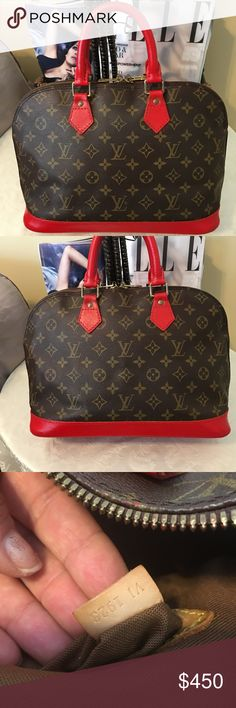 Louis Vuitton Alma Satchel, 100% Auth, custom Red This beautiful Satchel is in great condition inside out , no stain, no order or tear...  it was custom painted to Brazilian lipstick Red. YES IT IS 100% AUTHENTIC!!! Louis Vuitton Bags