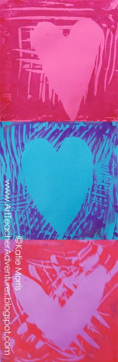 Kindergarten Gelli Printed Hearts Art Lesson with Katie Morris! She integrated PE Heart Health with her Art Lesson :) Such a fabulous idea :)