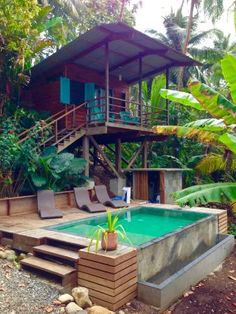 The best travel destinations affordable, favorite places and landmarks from 15 years of traveling all over the world Bamboo House Design, Tropical House Design, Tropical Houses, Hut House, Pole House, Tiny House, Jungle House, Home Decor Catalogs, Future House