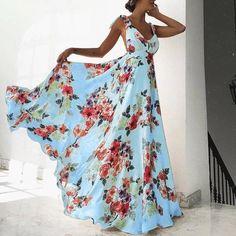 Blue Floral Print Open Back Maxi Dress   Divas Fashions