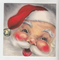 Vintage Smiling Santa Claus with Bell Christmas Greeting Card