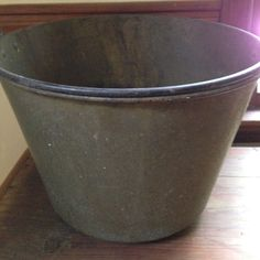 """ANTIQUE BRASS BUCKET  75.00 Large Antique Brass Bucket, elegant shape, lovely standing alone, but also excellent for plants or storage.  12""""H 17.5""""Diameter"""