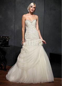 Robe de mariée impressioé avec perle taille de sirène longueur au ras du sol