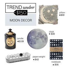 """""""Trend Under $150: Moon Decor"""" by polyvore-editorial ❤ liked on Polyvore featuring interior, interiors, interior design, home, home decor, interior decorating, Primitives By Kathy, Fornasetti, trendunder150 and moondecor"""