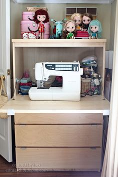 Small computer cabinet as small sewing space... nice.