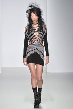 Dishevelled Grungy Knit Runways - The Mark Fast Spring 2014 Show Was Inspired by a Wild Party Girl (GALLERY)