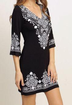 Sweet Desire Black and White Stitch Print Dress - Ledyzfashions.com | Ledyz…