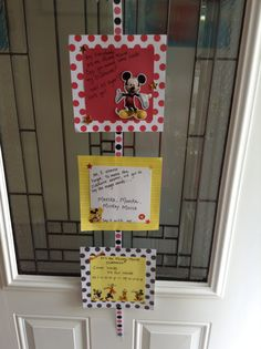 Welcome to the clubhouse sign on the front door. Didn't take long at all. I used ribbon and scrapbook materials.