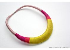 pink and yellow necklace, wrapped necklace, statement necklace, colorful necklace, multicolor, tribal necklace, african jewelry