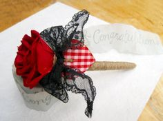 Red Rose Guest Book Pen Personalized Rustic by SoulCraftyGarden, £11.00
