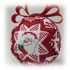 Quilted Ornament Santa Ornament Quilted Christmas Ornament