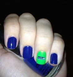Seahawks nails!!! with a Seahawk nail tattoo