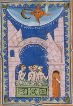 Bibliothèque nationale de France, Latin 8161, f. 19r. Petrus de Ebulo, De balneis puteolanis. Naples, mid-14th century.