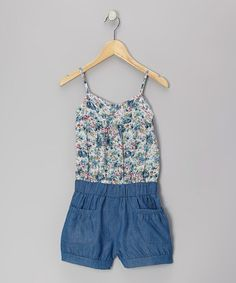 Take a look at this Blue Floral Romper - Toddler & Girls on zulily today!