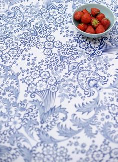Blue Lace Oilcloth - Laminated Fabric - Fabric