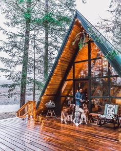 That Cabin Life Aesthetic - architecture house A Frame Cabin, A Frame House, Frame It, Cabin Homes, Log Homes, Cabin In The Woods, Cabins And Cottages, Log Cabins, Decks And Porches